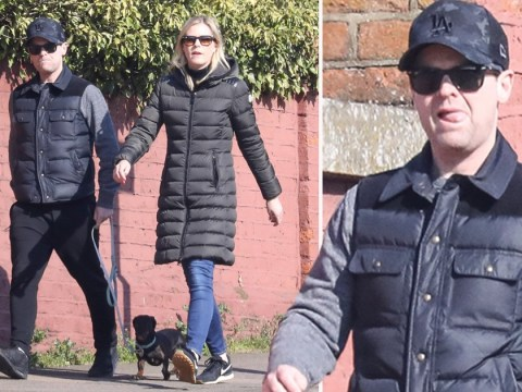 Declan Donnelly and wife Ali Astall take break from self-isolation to get their daily exercise by walking the dog