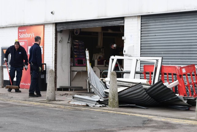 Dated: 27/03/2020 The Sainbury's supermarket in Sunderland, which was targeted by ram-raiders during the early hours of this morning (FRI) causing substantial damage to the store's shutters, which comes at a time when shops across the country are under increasing pressure due to panic buying caused by coronavirus fears. See story and VIDEO by North News