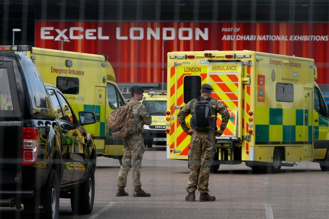 Military personnel outside the ExCel Centre, London