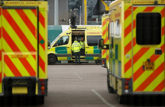 Paramedics and ambulances are seen outside the Excel Centre, London while it is being prepared to become the NHS Nightingale Hospital, as the spread of the coronavirus disease (COVID-19) continues, London, Britain, March 30, 2020. REUTERS/John Sibley