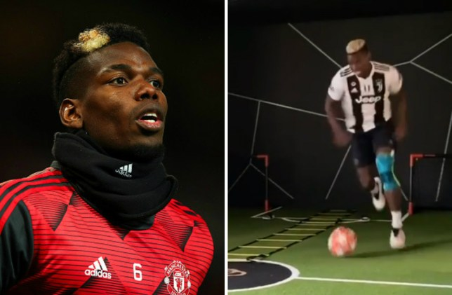 Paul Pogba wears a Juventus shirt in quarantine training session with Victor Lindelof