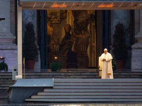 Pope Francis prays in an empty St Peter's Square on Italy's deadliest day