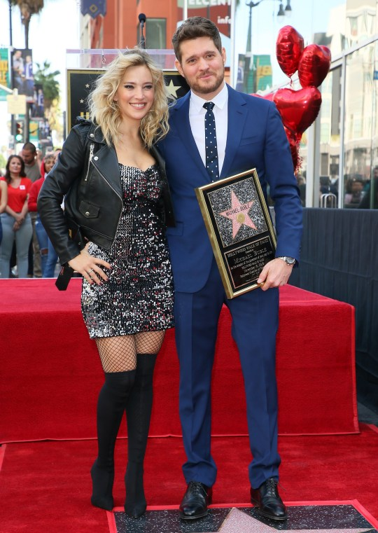 HOLLYWOOD, CA - OCTOBER 16: Luisana Lopilato and Michael Buble attend a ceremony honoring him with a star on the Hollywood Walk Of Fame on October 16, 2018 in Los Angeles, California. (Photo by JB Lacroix/WireImage)