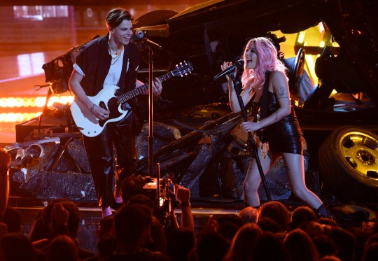 Yungblud, left, and Halsey perform at the iHeartRadio Music Awards on Thursday, March 14, 2019, at the Microsoft Theater in Los Angeles. (Photo by Chris Pizzello/Invision/AP)
