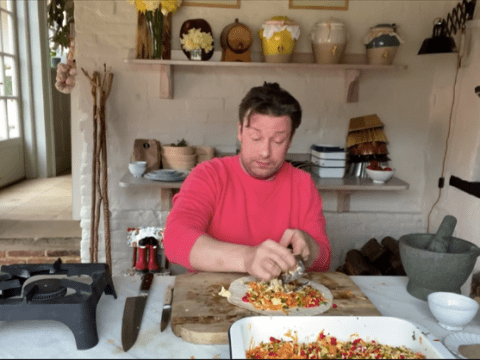 Jamie Oliver teaches viewers how to cook simple noodle stir-fry