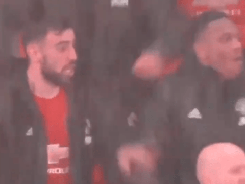 Bruno Fernandes and Anthony Martial bear hug after Scott McTominay's wondergoal against Manchester City