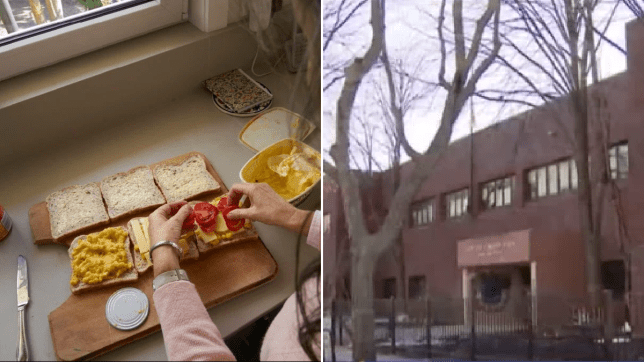 Photo of woman making sandwiches next to photo of South Loop Elementary School in Chicago