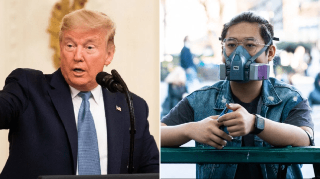 Photo of Donald Trump next to photo of New Yorker in mask