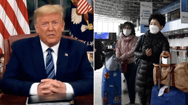 Photo of Donald Trump next to photo of airport travelers