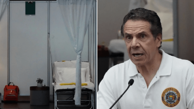 Picture of Javits Center hospital bed next to Andrew Cuomo