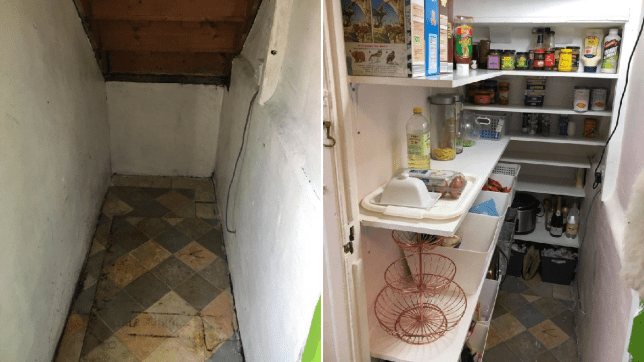 kelly sharp turned the cupboard under her stairs into a pantry