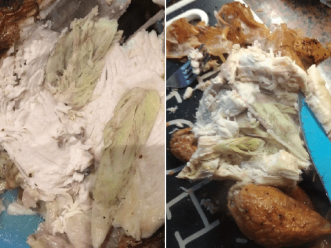 Shoppers share gross pictures of green chicken from supermarkets