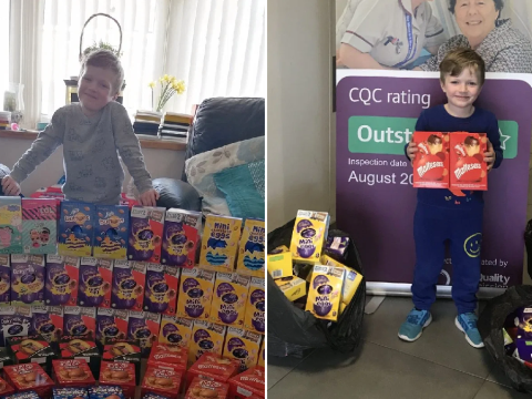 Five-year-old boy donates 70 Easter eggs to doctors and nurses tackling the coronavirus pandemic