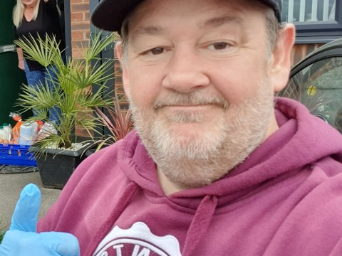 Johnny Vegas takes 'safe distance selfie' as he follows through on pledge to deliver food during coronavirus outbreak