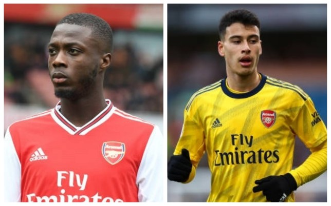 Nicolas Pepe and Gabriel Martinelli of Arsenal