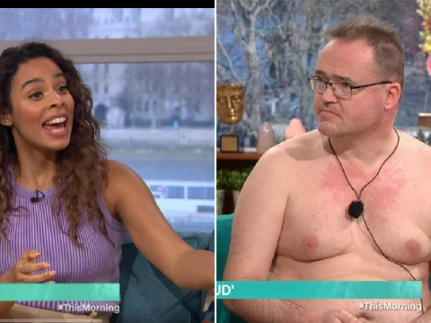 This Morning's Rochelle Humes flustered as she can't stop staring at naturist's penis