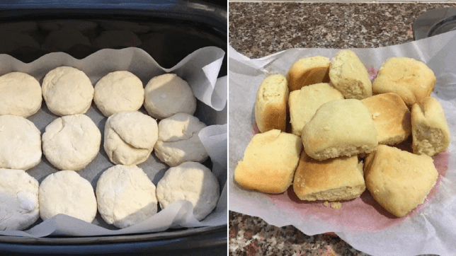 Three ingredient slow cooker scones before and after they were baked
