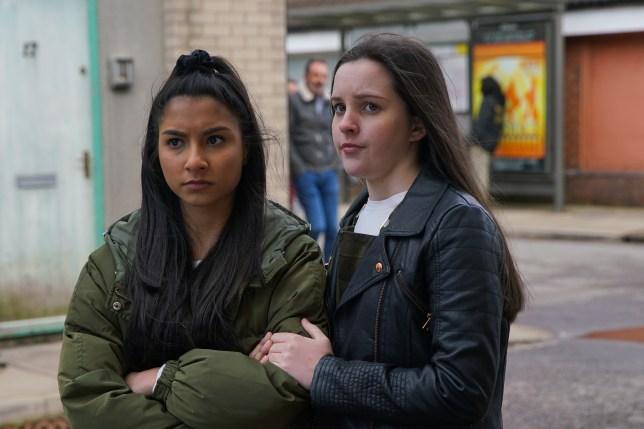 Asha and Amy in Coronation Street