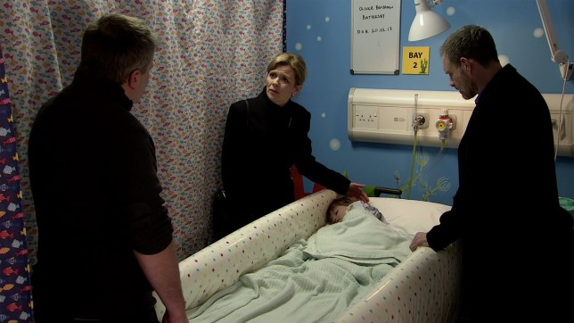 Leanne and Steve in Coronation Street with Oliver in hospital.