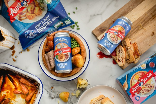 Aunt Bessie and Northern Monk roast dinner and jam roly poly beers