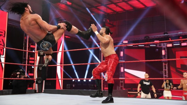 WWE Champion Drew McIntyre hits the Claymore on United States Champion Andrade