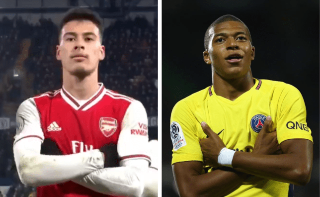 Arsenal's Gabriel Martinelli and Kylian Mbappe