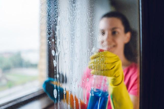Femme, nettoyage, fenêtre