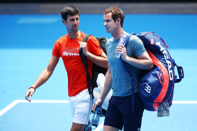MELBOURNE, AUSTRALIA - JANUARY 10: Novak Djokovic of Serbia talks with Andy Murray of Great Britain before their practice match ahead of the 2019 Australian Open at Melbourne Park on January 10, 2019 in Melbourne, Australia. (Photo by Michael Dodge/Getty Images)