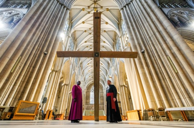 Priests prepare for Easter service in church