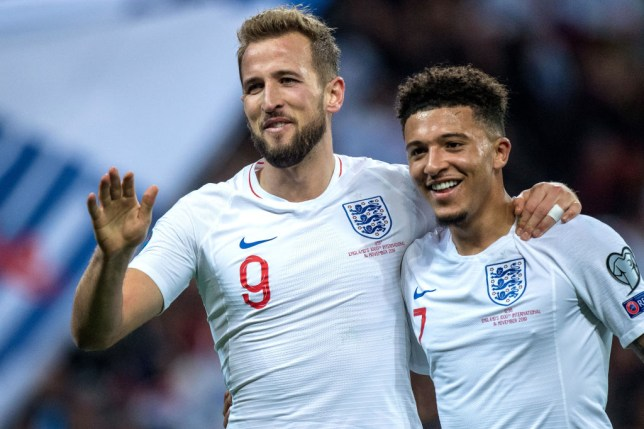 LONDON, ENGLAND - NOVEMBER 14: Harry Kane of England celebrate with hes team mate Jadon Sancho after scoring hes 2nd goal during the UEFA Euro 2020 qualifier between England and Montenegro at Wembley Stadium on November 14, 2019 in London, England. (Photo by Sebastian Frej/MB Media/Getty Images)