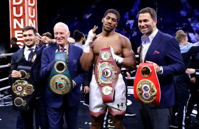 Heavyweight champion Anthony Joshua and Eddie Hearn