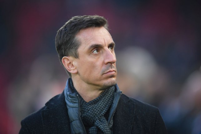 LIVERPOOL, ENGLAND - JANUARY 19: Sky Sports pundit Gary Neville looks on during the Premier League match between Liverpool FC and Manchester United at Anfield on January 19, 2020 in Liverpool, United Kingdom. (Photo by Michael Regan/Getty Images)