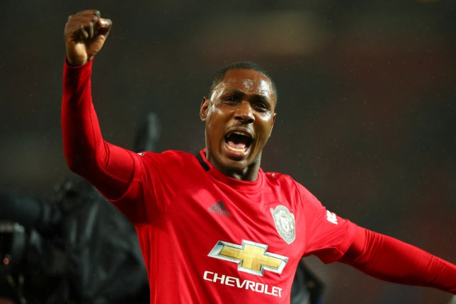 MANCHESTER, ENGLAND - MARCH 08: Odion Ighalo of Manchester United celebrates at full time during the Premier League match between Manchester United and Manchester City at Old Trafford on March 8, 2020 in Manchester, United Kingdom. (Photo by Robbie Jay Barratt - AMA/Getty Images)
