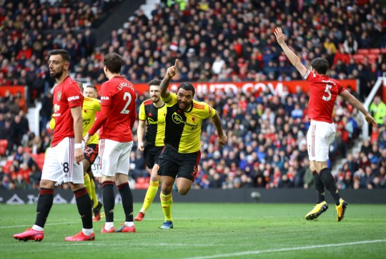 Troy Deeney of Watford against Manchester United