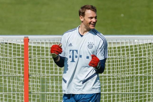 Chelsea transfer target Manuel Neuer during Bayern Munich training