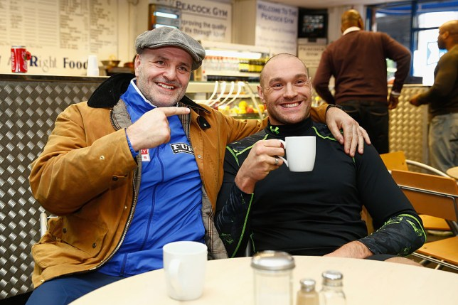 Boxer Tyson Fury has a coffee with his dad