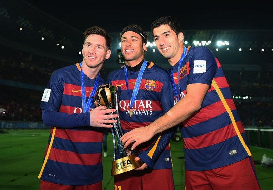 Neymar with former Barcelona teammates Lionel Messi and Luis Suarez