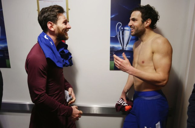 Lionel Messi and Cesc Fabregas in discussion following Barcelona's Champions League clash with Chelsea