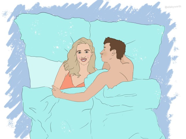 Illustration of a couple lying in bed together.