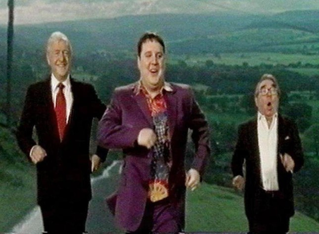 Michael Parkinson (left to right), Peter Kay and Ronnie Corbett from the video to Is This The Way To Amarillo. Sunday March 20, 2005. The song by seventies crooner Tony Christie has stormed to the top of the charts 34 years after it was first released. It sold 40,000 copies on its first day alone - more than the rest of the top 40 combined. The video features Kay miming to the singalong classic backed by celebrities including Ronnie Corbett, Sir Jimmy Savile and Coronation Street's Ken and Deirdre. See PA story SHOWBIZ Charts. PRESS ASSOCIATION Photo. Photo credit should read: Comic Relief/PA