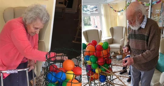 Care home residents playing kerplunk