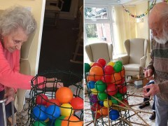 Care home residents play a giant game of Kerplunk to lift spirits amid lockdown