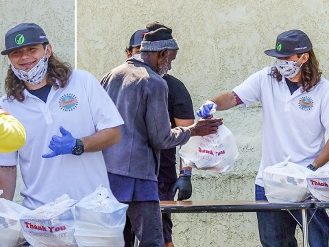 Michael Jackson's son Prince shows his giving side as he dons face mask to hand out free meals in LA amid coronavirus