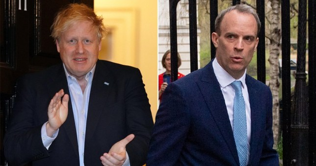 Boris Johnson and Dominic Raab as he enters Number 10