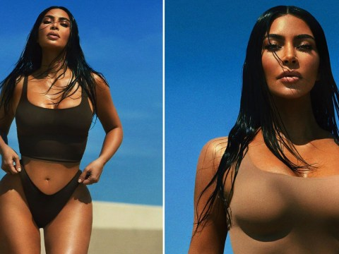 Kim Kardashian continues to hustle in quarantine as she models Skims and new perfume