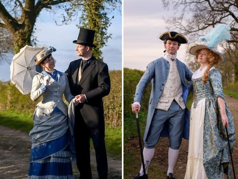 Creative couple go on daily walks wearing historical outfits including Tudor and medieval costumes