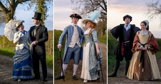 Couple dressed in historical attire
