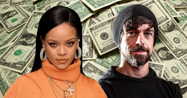 Rihanna and Jack Dorsey and dollar notes in the background