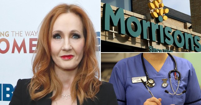 JK Rowling, a Morrisons sign and the uniform of a nurse/NHS worker