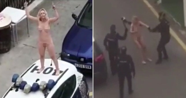 Naked woman jumps on police car after leaving court for lockdown breach